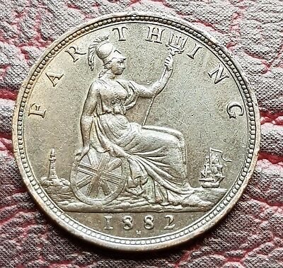 (E17) Uk British 1882H One Farthing Coin High Grade Some Lustre
