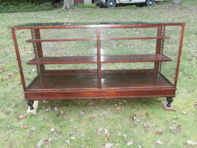 Vintage Wood and Glass Showcase Counter 6 feet long