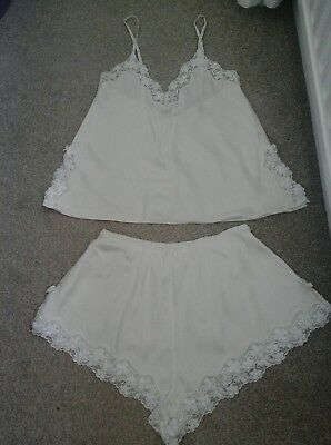 Lovely Vintage 80's La Senza Cream  Silk Camisole & French Knickers.  Size 10