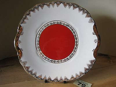 Warranted 22 Kt. Gold English China Cake Plate Red Leonora