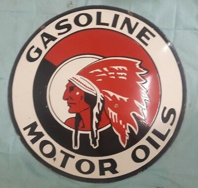 """Porcelain RED INDIA GASOLINE Sign SIZE 36"""" ROUND Double Sided"""