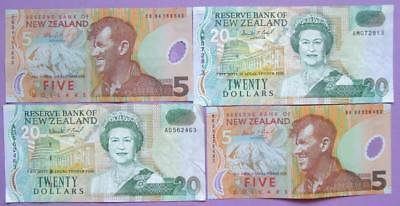 New Zealand - 4 banknotes - 2 paper , 2 polymer. - $50.................Au129