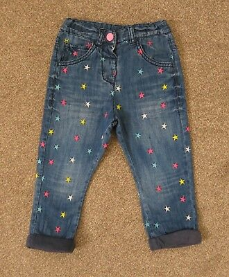 Cute NEXT Colourful Star Embroidered Lined Jeans, Size 18-24 months