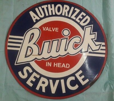 "Porcelain BUICK SERVICE Sign SIZE 42"" ROUND DOUBLE SIDED"