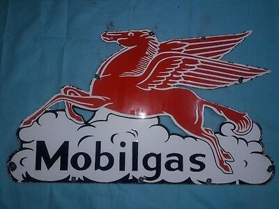 "Porcelain MOBILGAS Sign SIZE 25"" X 42""  INCHES"