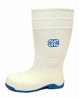 Mens White Flat Work Safety Steel Toe Cap Wellies Hygiene Wellington Boots 6-11
