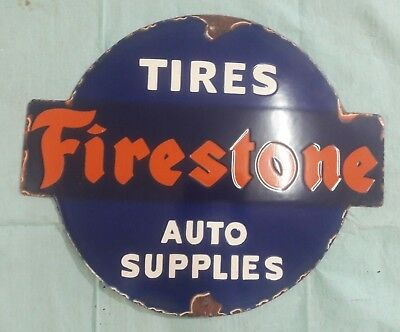 "Porcelain FIRESTONE TIRES  Sign SIZE 18"" X 15""  INCHES"