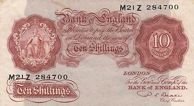 Beale ten shilling note 1950. nice crisp old note.