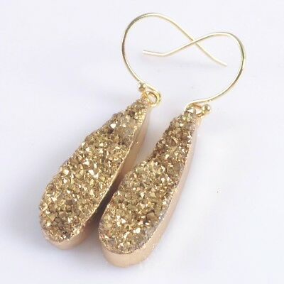 Long Drop Natural Agate Titanium Druzy Dangle Earrings Gold Plated H103726