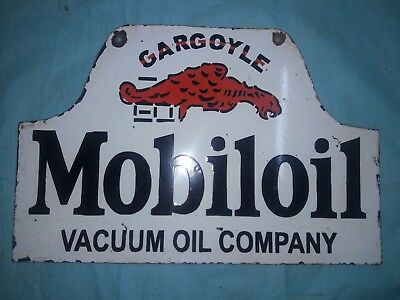 "Porcelain MOBILOIL GARGOYLE Sign SIZE 23"" X 15"" INCHES  2 SIDED"