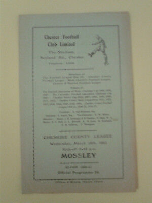 Chester Reserves v Mossley Cheshire League 1960/1