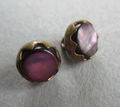 BEAUTIFUL TINY VINTAGE BUTTONS PURPLE MOTHER of PEARL SET IN BRASS PARIS BACKS