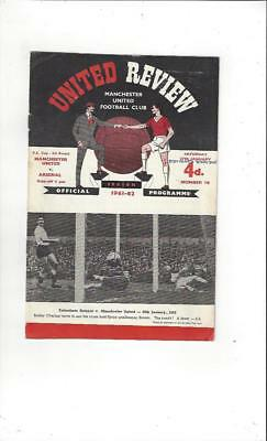Manchester United v Arsenal FA Cup 1961/62 Football Programme Jan