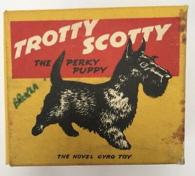 1960s Friction Plastic Trotty Scotty Puppy Boxed