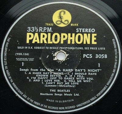 BEATLES 1964 STEREO 1st Press UK Parlophone LP - A Hard Day's Night