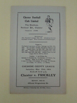 Chester Reserves v Frickley Colliery Cheshire League 1963/4