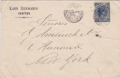 Brazil-1902 200 reis blue on Iquitos surface mail cover to United States