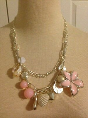 """Cute! Pink Flower & Shell Charm Necklace 22"""" Perfect for Summer!"""