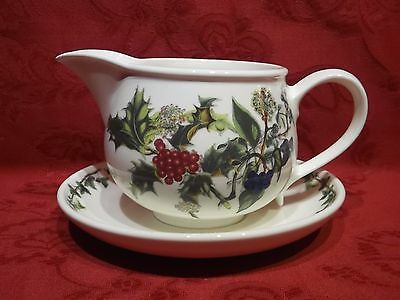 Portmeirion Holly & Ivy Gravy Jug / Sauce Boat and Saucer