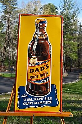 Vintage Dads Root Beer Tall Old Time Bottle Drink Sign Rare Super Soda Piece!
