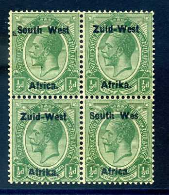 South west Africa 1923 ½d green  WES for WEST SG 1a MH B4 (error pair NH)