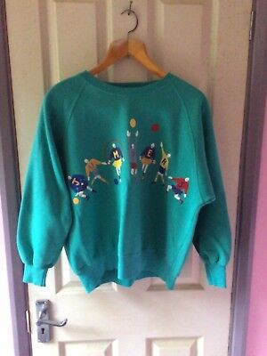 Vintage Jumpers Tulchan Turquoise Casual Jumper Shirt Cute Large