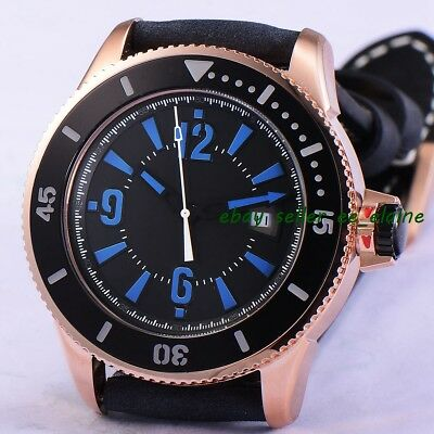 43mm RoseGold PVD Case Sub Style Mens Automatic WristWatch Black Sterile Dial 02