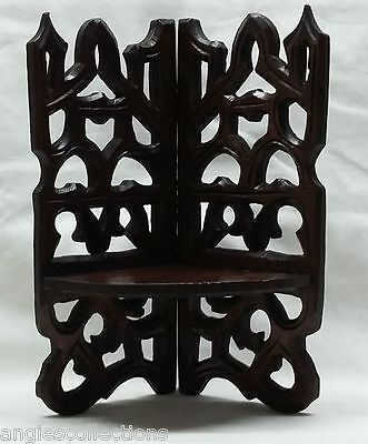 Fold Up Wall Bracket Stand Sconce Shelf Hand Carved Black Forest Antique