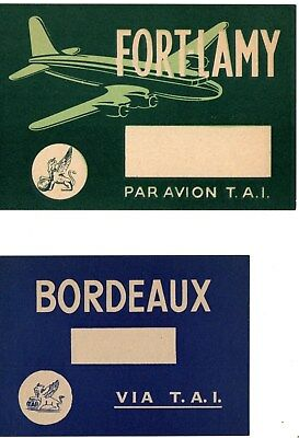 2 T A I Transportes  Aeriens Intercontinentaux  Airline Baggage Labels Sticker