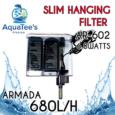 Armada Ar-602 Slim Hang-On Filter Aquarium Water Pump 680 L/h Aqua Fountain Fish