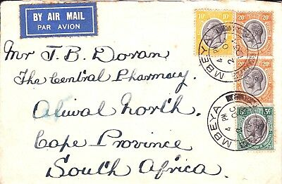TANGANYIKA - BR. MANDATE: Cover franked SG 93,94,96 X2 and sent to S.A. in 1934.