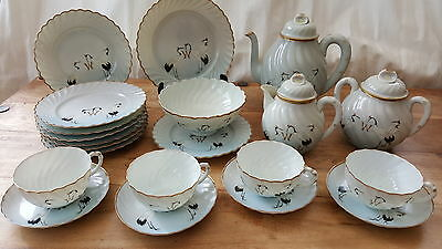 Antique, 24 Piece Customised, Japanese, Taniguchi, Kutani Porcelain Tea Set.