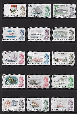BAHAMAS 1966 New Currency Definitives; Scott 252-66, SG 295-309; MNH