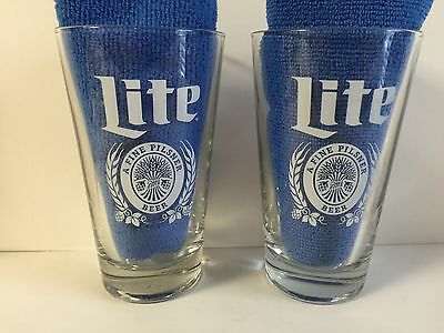 Miller Lite Pint Glass Retro Style Font ~ Set of Two (2) Glasses ~ NEW