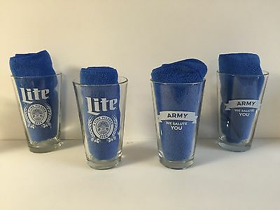 Miller Lite Army ~ We Salute You Pint Glass ~ Set of Four (4) Glasses ~ NEW