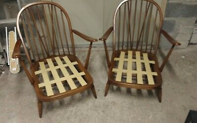Pair of Vintage Ercol 203 1980 Windsor Armchairs