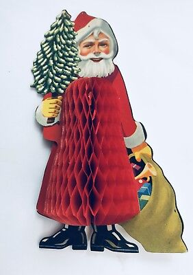 Vintage Christmas  1950s Father Christmas    Honeycomb Decoration
