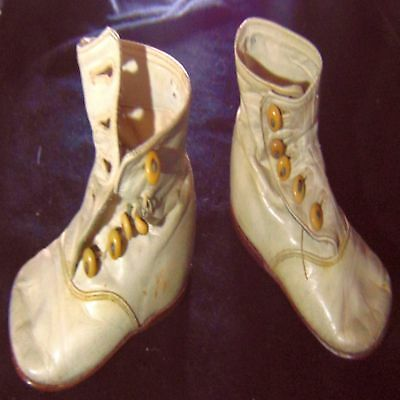 Antique Baby Doll Human Leather Shoes High Old Button Vtg Modern Home Collect Sz