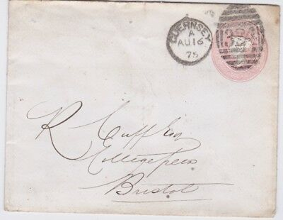 Great Britain-1875 QV 1d pink PS letter Guernsey Duplex Type H cover to Bristol