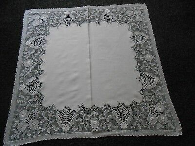 Beautiful Pure White Vintage Linen Tablecloth With Lace Border
