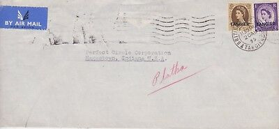 Morocco Agencies-1955 QE II  1/3d on British P.O.Tangier airmail cover go USA