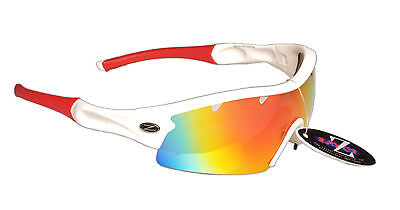 RayZor Uv400 White Sailing Wrap Sunglasses 1 Pce Vented Red Mirrored Lens RRP£49