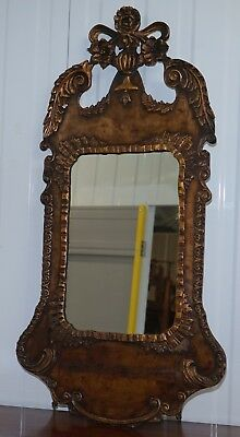 Hand Carved And Dated 1741 London Georgian Walnut Wall Mirror Initialed Ah