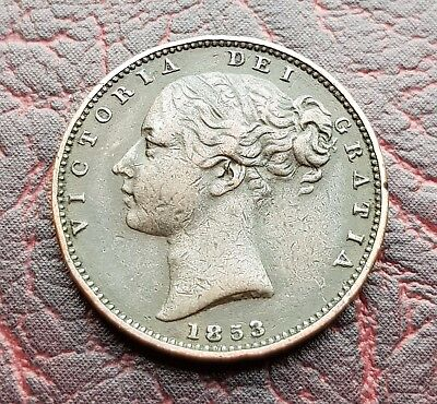 (E23) Uk British 1853 Victoria One Farthing Coin