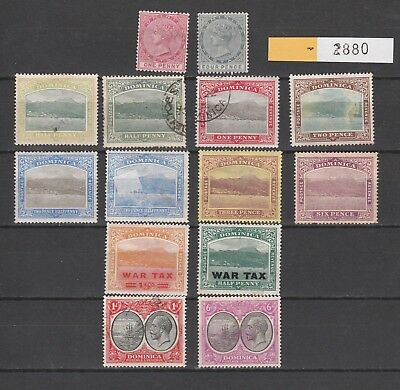 2880: Dominica; Selection of 14 mint & used stamps. Victoria, Rouseau, George V