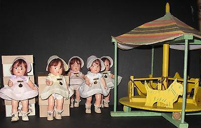 ♚1930's * RARE * MADAME ALEXANDER DIONNE QUINTUPLET DOLLS IN ORIGINAL CAROUSEL