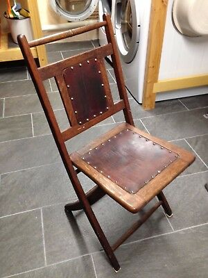 Antique solid oak folding chair w leather mission craftsman victorian NO RESERVE