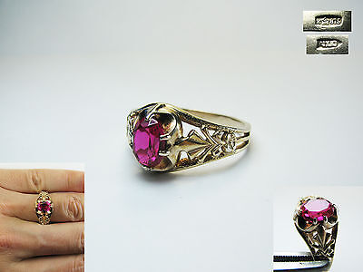 Vintage USSR RING Women's  RUBY STONE GOLD PLATED SILVER 875 Size 10 1/2
