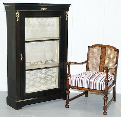Lovely Grand Ebonsied With Gilt Metal Hardware Bookcase Cabinet Display Case