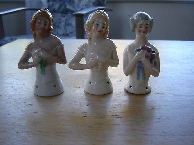 ANTIQUE VINTAGE HALF DOLL set of 3 porcelain marked Germany pin cushions